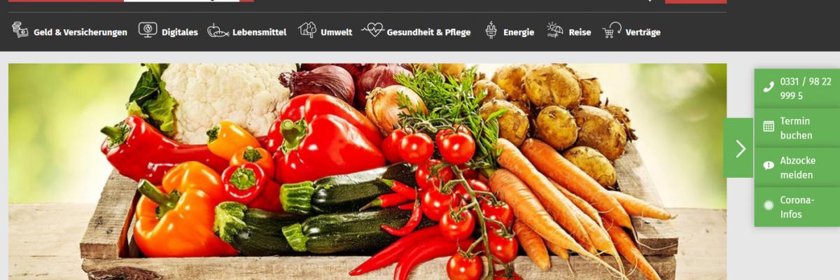 Screenshot Homepage Verbraucherzentrale Brandenburg